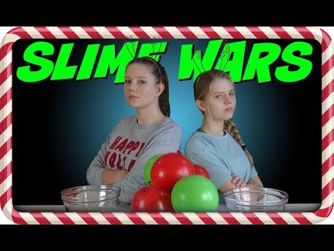 SLIME WARS HOLIDAY BALLOON POP || CHRISTMAS 2017 || Taylor and Vanessa
