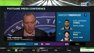Tom Thibodeau on Wolves' loss to Kings