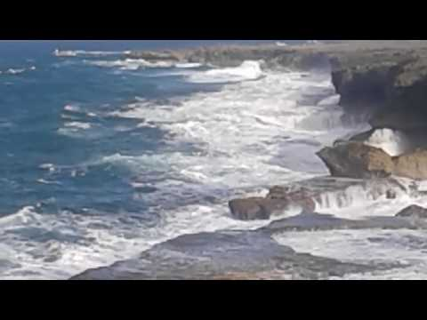 Waves crashing on the rocks at North Point, Barbados