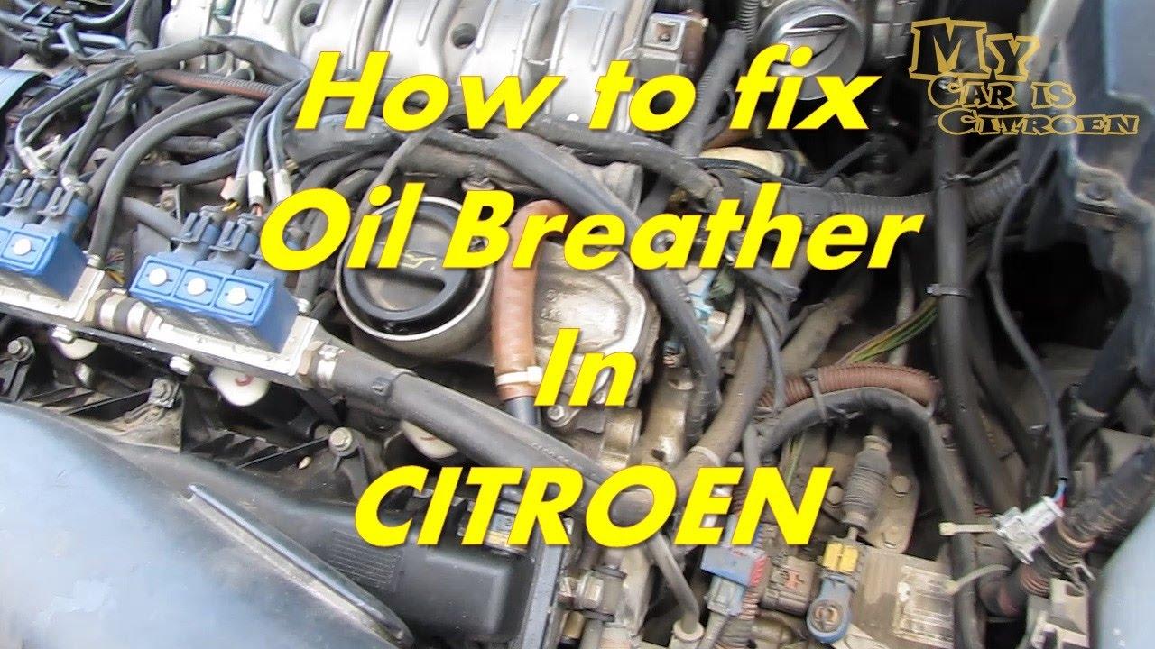 citroen c5 how to fix oil breather pipe citroen oil breather hose problem repair [ 1280 x 720 Pixel ]