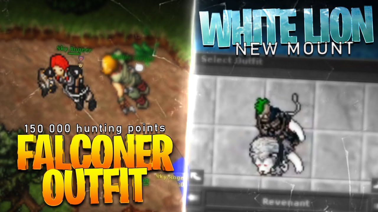NEW WHITE LION MOUNT / FIRST FALCONER OUTFIT !! 😵 - TibiaClips #TibiaFerumbrinha🧙
