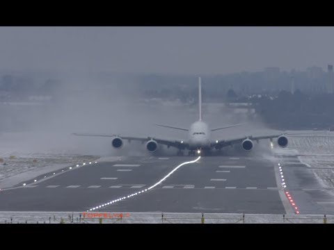 Beast from the East ! Airbus A380 landing and takeoff extreme weather conditions Lots of Snow spray