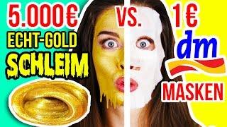 TEUERSTE GOLD SCHLEIM MASKE der WELT 😵💸 vs. 1€ DM TEST! 24K GOLD SLIME DIY!