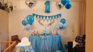 Baby Boy's First Birthday.  Indoor Party