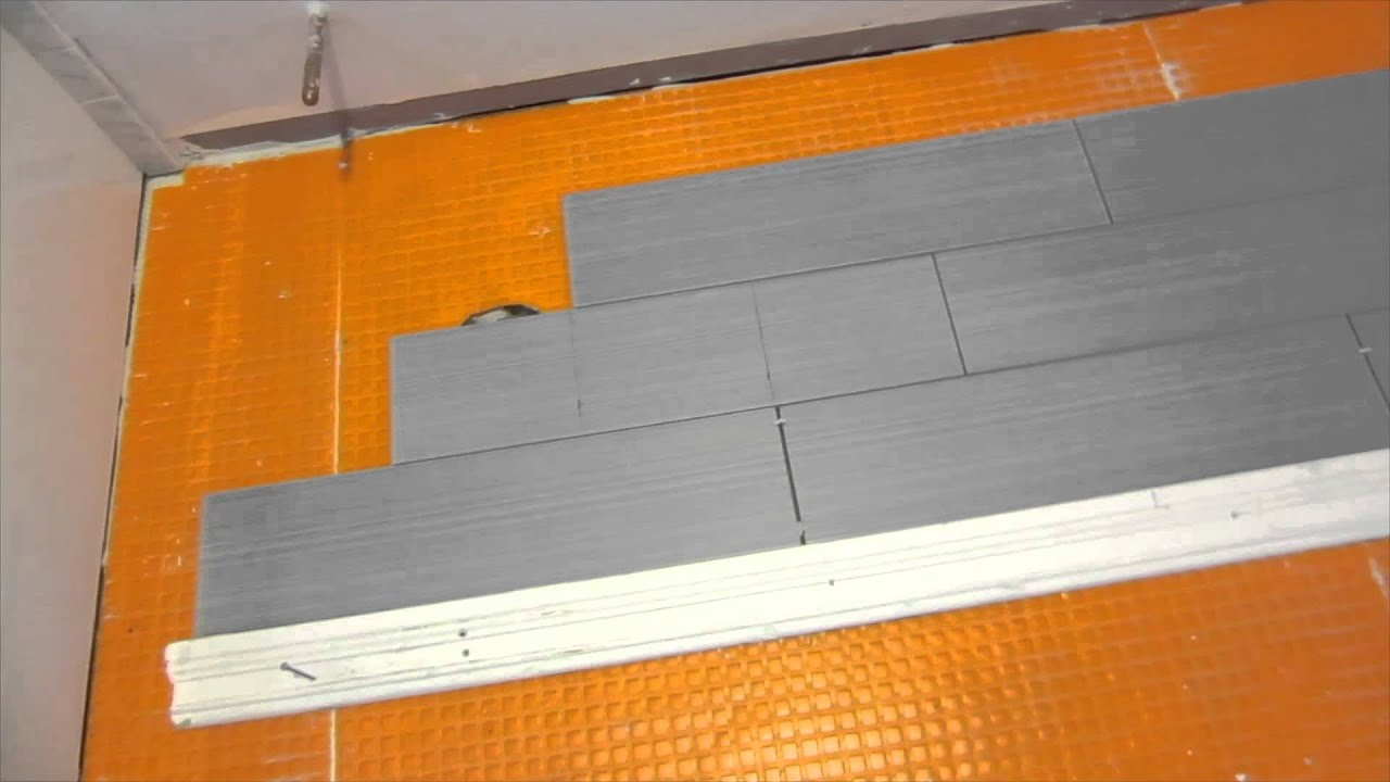 Part 4 How To Install Wood Look Plank Tile On Schluter Ditra Layout