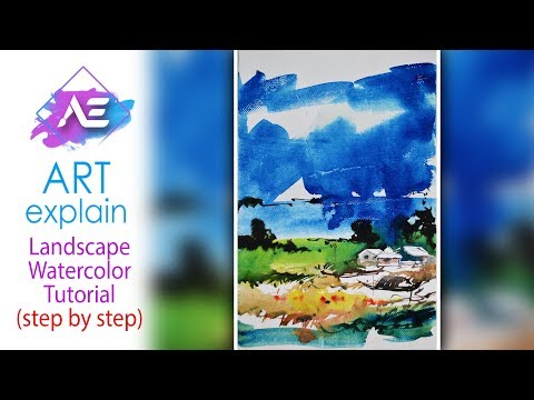 Sky line Watercolor Painting Landscape Tutorial | How to paint a watercolor landscape | Art Explain