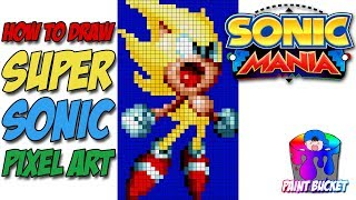 How To Draw Super Sonic The Hedgehog Sonic Mania Pixel Art Drawing Tutorial Youtube