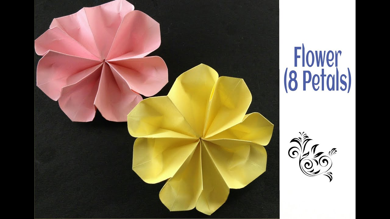 Beautiful origami paper flower with eight petals youtube beautiful origami paper flower with eight petals mightylinksfo