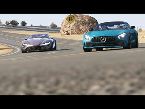 Mercedes-Benz AMG GTR '17 vs Toyota FT-1 at Black Cat Country