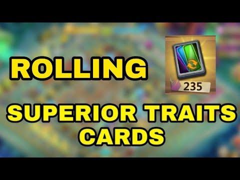 Rolling 235 Superior Traits Cards L Castle Clash