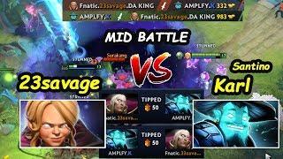 Fnatic 23SAVAGE [Invoker Kid] vs  Amplfy Karl [Storm Spirit] MIDLANE BATTLE DOTA 2 7.22 Gameplay