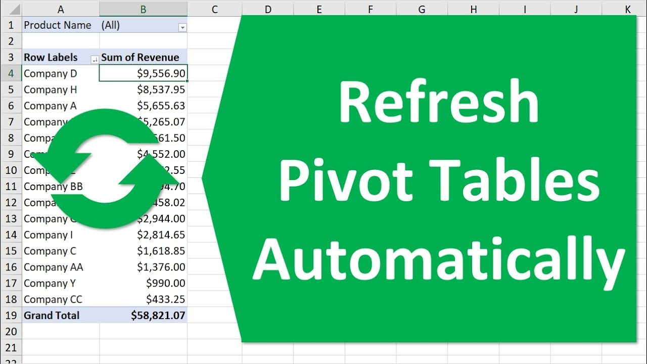 Refresh Pivot Tables Automatically When Source Data Changes