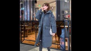Зимняя утолщенная куртка выше колена с капюшоном средней длины женская одежда куртка свободная