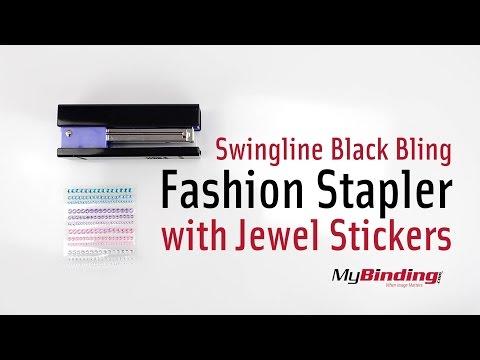 Swingline Black BLING Fashion Stapler with Jewel Stickers
