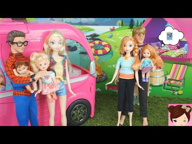 Elsa & Anna Toddlers go Camping in Barbies Glam Camper - Spiderman Scared of BUGS!