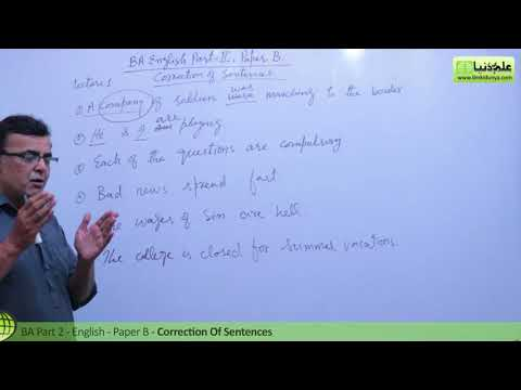 BA English Correction of Sentences Lecture 1 BA Part 2 Paper B Punjab University