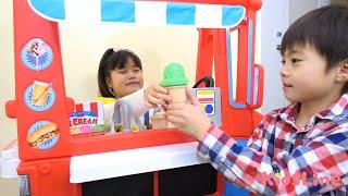 アイス屋さんごっこ アイスクリーム落とした!? お店屋さんごっこ こうくんねみちゃん es krim icecream shop