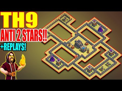 BEST EPIC TH9 WAR BASE STRONGEST 2017 | ANTI 2 STARS | REPLAY PROOF | CLASH OF CLANS
