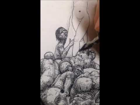 Field of Bodies Time Lapse Illustration. Nib and Ink