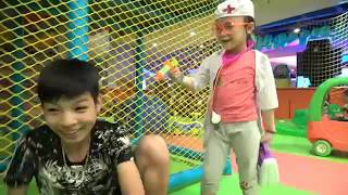 Family fun Indoor playground for kids at play area - Video for kids and pretend play toys