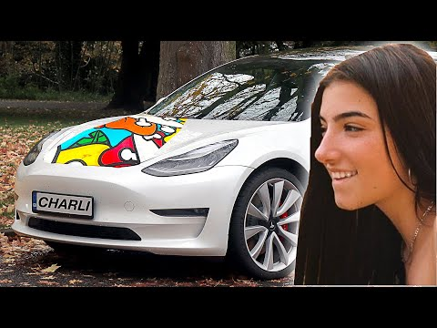 My First Custom Tesla!! 🚘🚗 ft. Charli D'Amelio & ZHC (Giveaway)