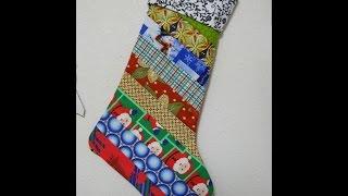 Scrappy Quilt-As-You-Go  Strip Christmas Stocking