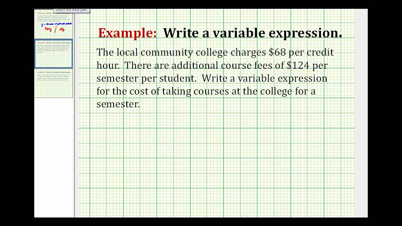 Examples: Writing Variable Expressions - YouTube