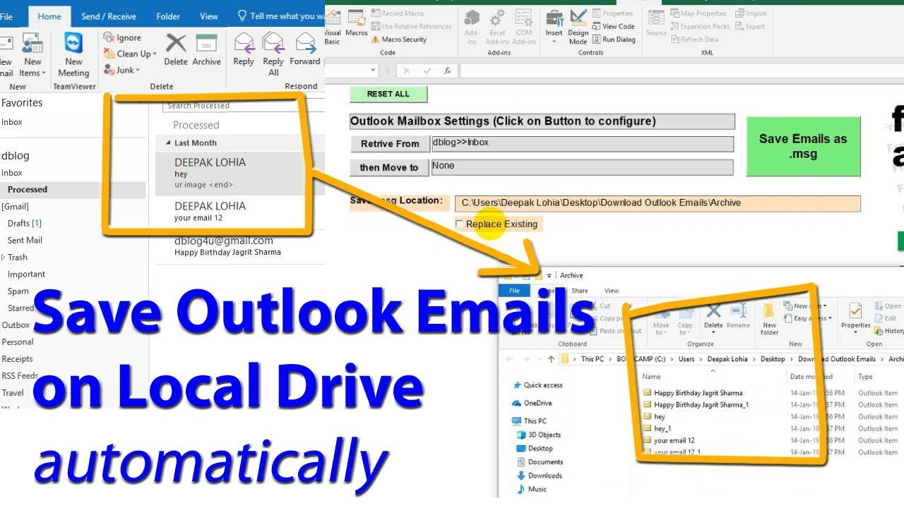 save outlook emails as  msg on your local drive - excel vba macros