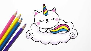 How to Draw Cute Cat Unicorn Easy - Drawing Catcorn
