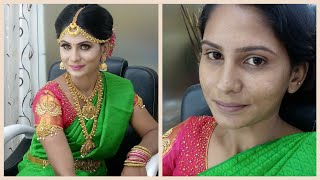 SOUTH INDIAN BRIDAL MAKEUP LOOK   MUHURTHAM LOOK