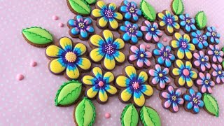 How to Make Simple Marbled Cookie Flowers and Leaves