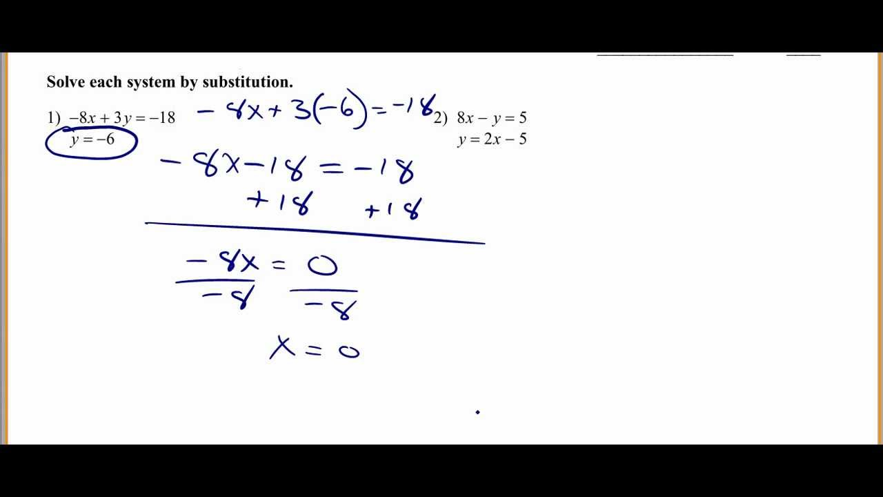 Solving systems of equations by substitution YouTube – Solving Systems of Equations by Substitution Worksheet