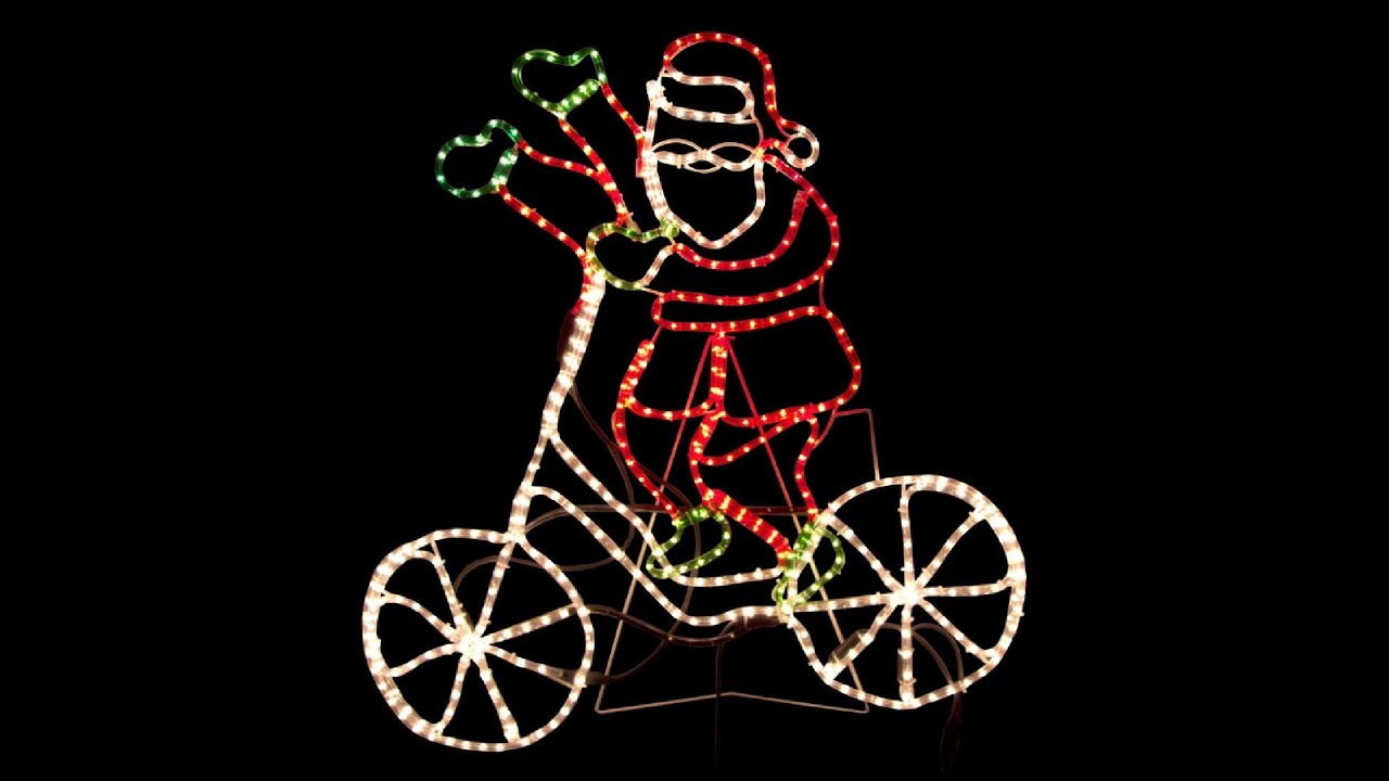Rope light silhouettes santa waving riding his bicycle 11m rope light silhouettes santa waving riding his bicycle 11m youtube aloadofball Gallery