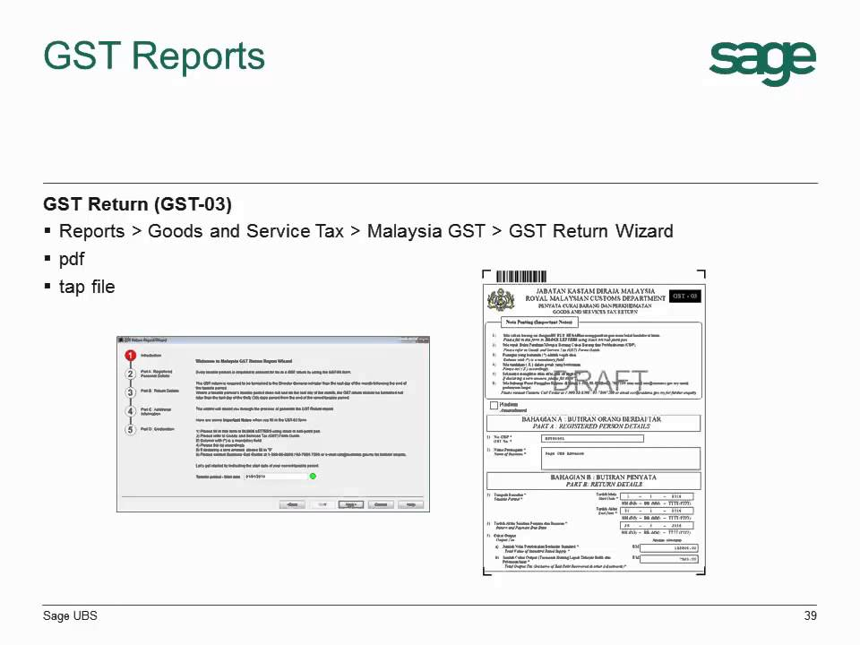 Ubs Accounting Gst 3/3 - Reports (Tax Invoice, Gst-03, Tax Report