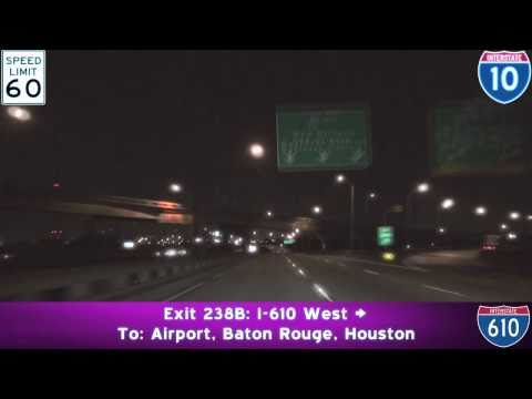 I-10 West to US-90 Bus. at Night: New Orleans, LA