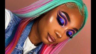 Download Multi Color Hair + Purple Neon Cut Crease Makeup Look | Tinashe Hair | MakeupTiffanyJ Mp3 and Videos