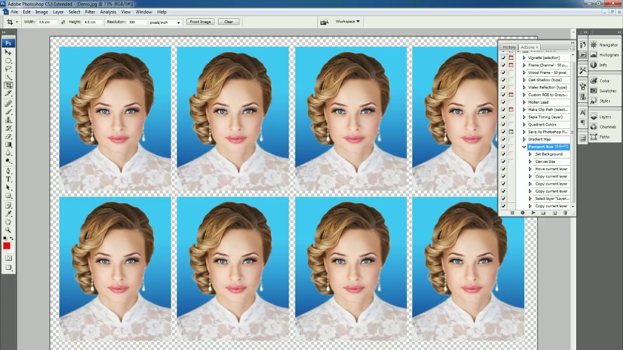 (हिन्दी ) create Passport size Photo in adobe Photoshop 7.0 (One Click)