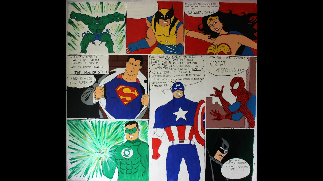 superhero comic strip wall art youtube