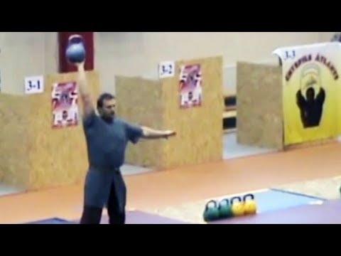 Vasiliy Ginko - kettlebell power juggling performance in Latvia (Europe, 2008)