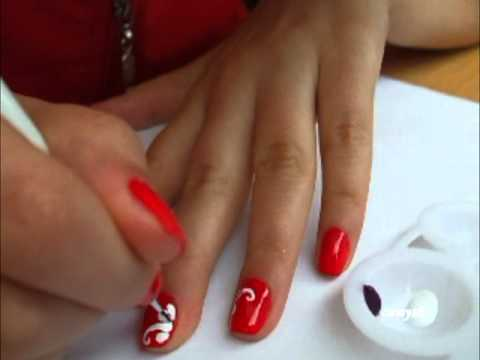 Red nail with white flowers nail art tutorial youtube red nail with white flowers nail art tutorial prinsesfo Images