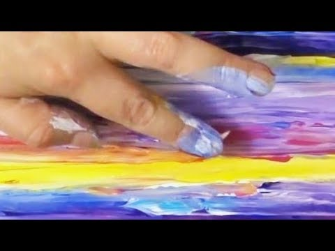 Rainbow Colors 🌈 Sunset Landscape 🌅 Abstract Finger Painting Artist