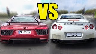 AUDI R8 V10 PLUS vs NISSAN GTR R35 - LAUNCH & ACCELERATIONS