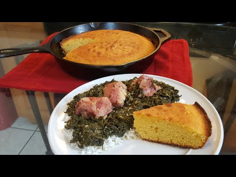 How to cook Mustard Greens with Cast Iron Skillet cornbread from scratch