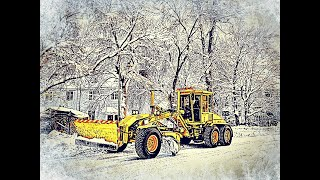 Tiehöylät lumitöissä.. Snow removal with graders and snowblowing in Riihimäki town, Finland - 2/2021