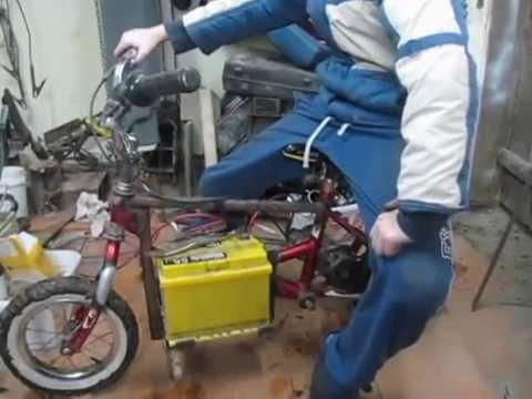 видео: Самодельный электробайк с двигателем из электростартера