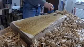 Ręczne struganie drewna - deski kuchennej z dębu (dębiny) | HAND TOOL PLANING