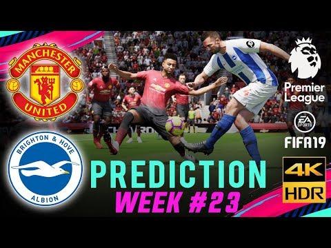 MANCHESTER UTD vs BRIGHTON | FIFA 19 EPL Predict Matchday 23 | Broadcast Camera - 4K HDR