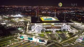 Miami hard rock stadium - night aerial shot from a bell jetranger 1 week before super bowl liv 2020.
