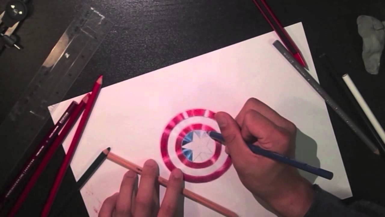 Captain America Shield Drawing: Realistic Speed Drawing: Captain America's