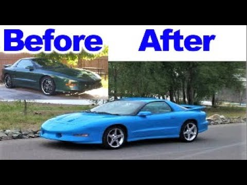 Painting the Trans Am  with Custom Blue Pearl  Color in the Garage